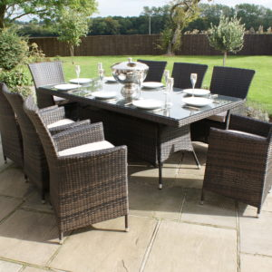 LA 8 Seat Rectangle Rattan Dining Table | Free Parasol and Base