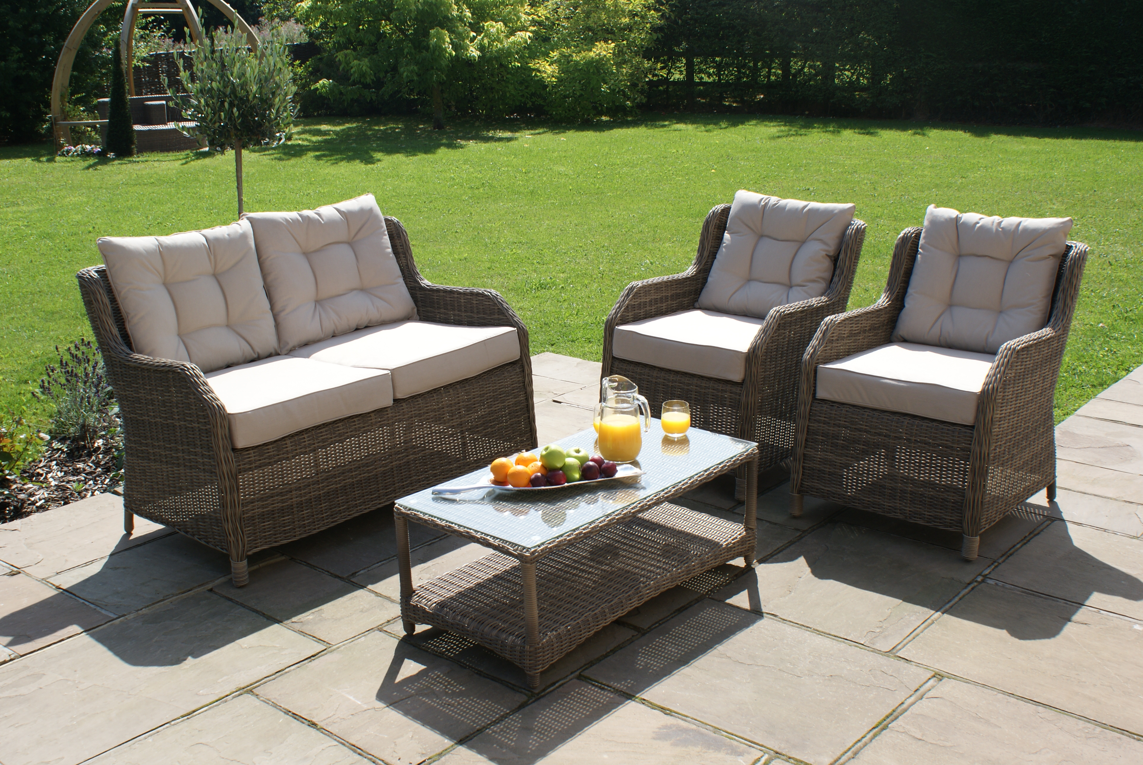 Winchester square high back sofa set crownhill for Outdoor furniture 4 seater