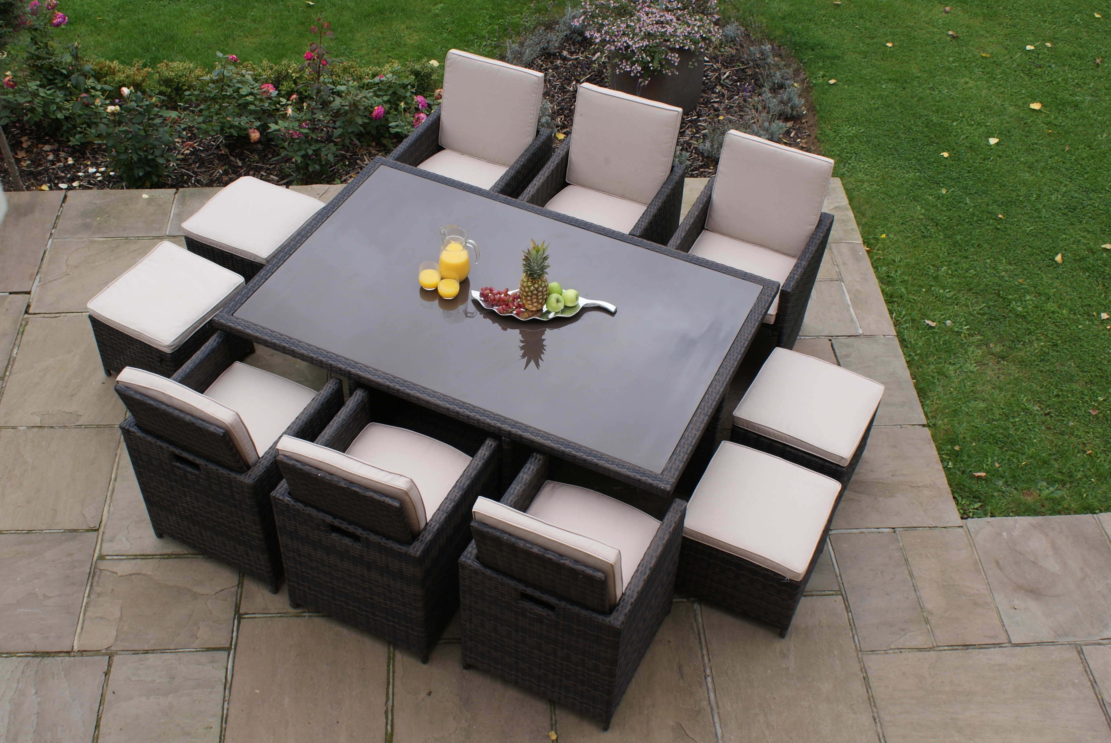 7 Piece Rattan Cube Set with Footstools