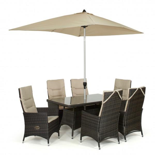 6 Seat Reclining Rattan Dining Set