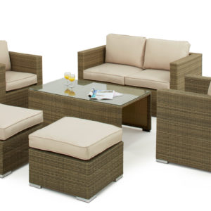 Light Brown Tuscany 2 Seat Rattan Sofa Set