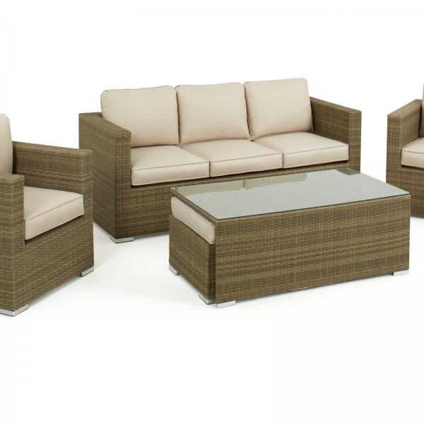 Light Brown Tuscany 3 Seat Rattan Sofa Set