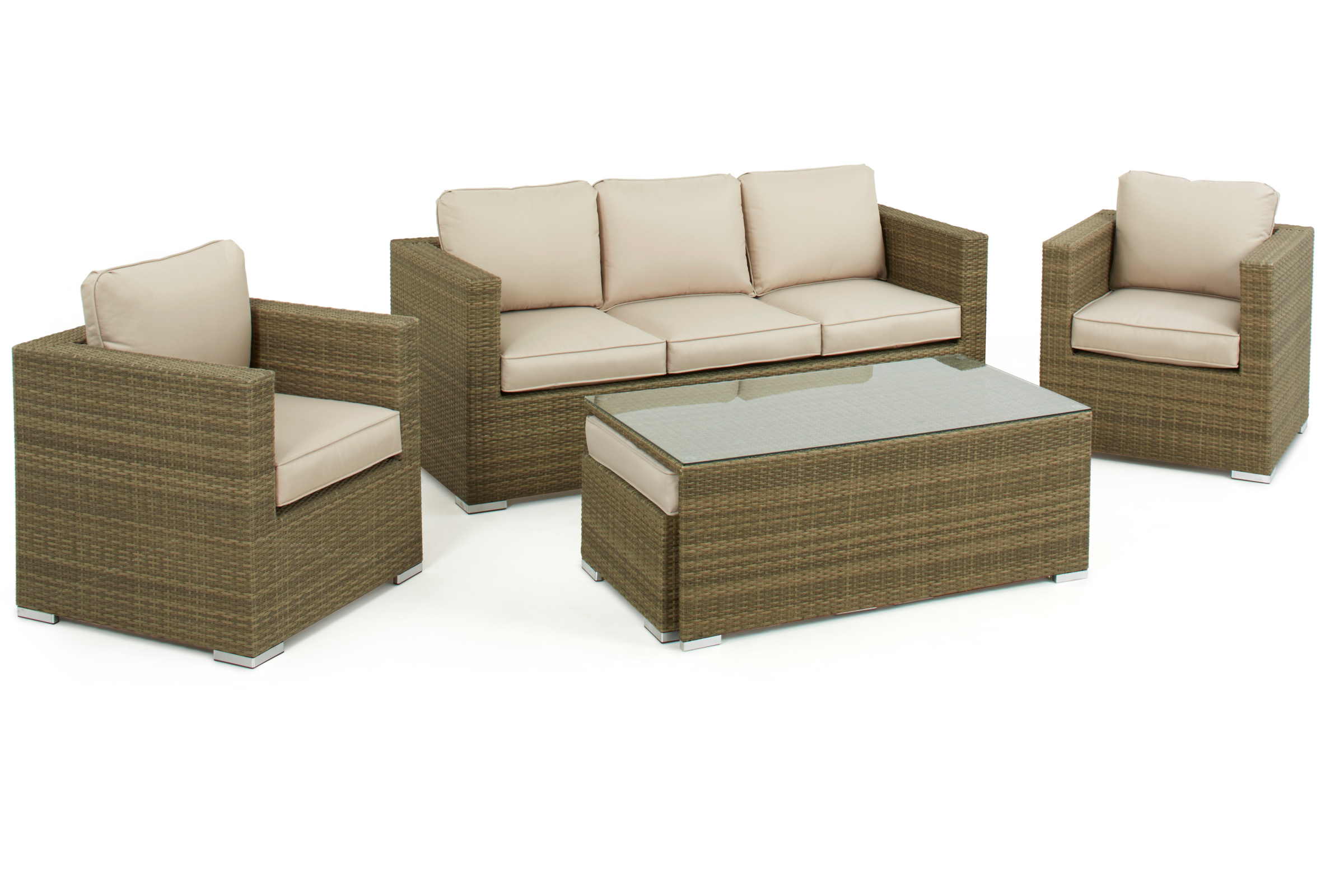 Light Brown Tuscany 3 Seat Rattan Sofa Set