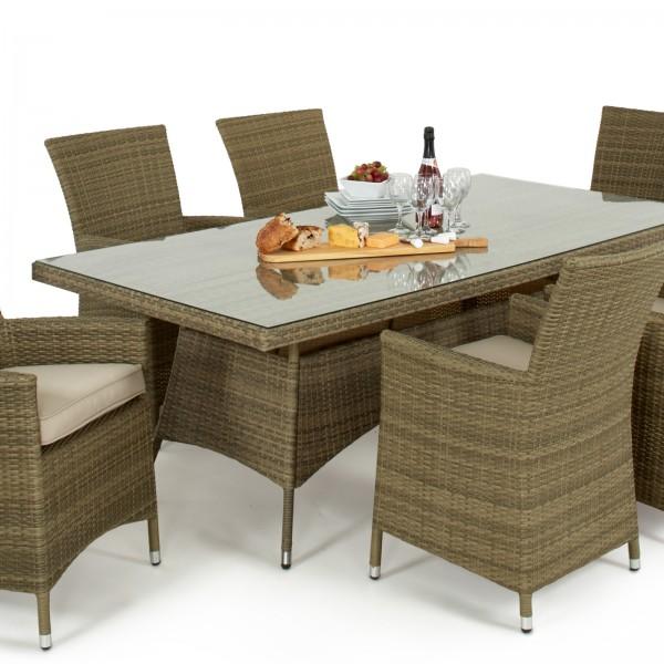 Tuscany LA 6 Seat Rectangular Rattan Dining Set