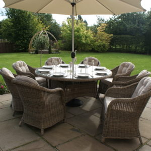 Winchester 8 Seat Round Dining Table with Round Chairs