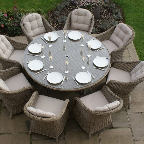 Winchester 8 Seat Round Dining Set with Round Chairs