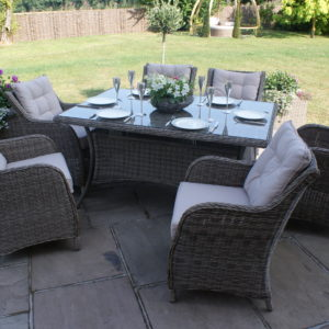Winchester 6 Seat Garden Dining Set with Square Chairs