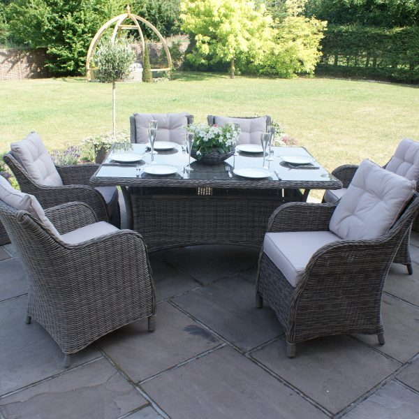 Winchester 6 Seat Rectangular Dining Set with Square Chairs