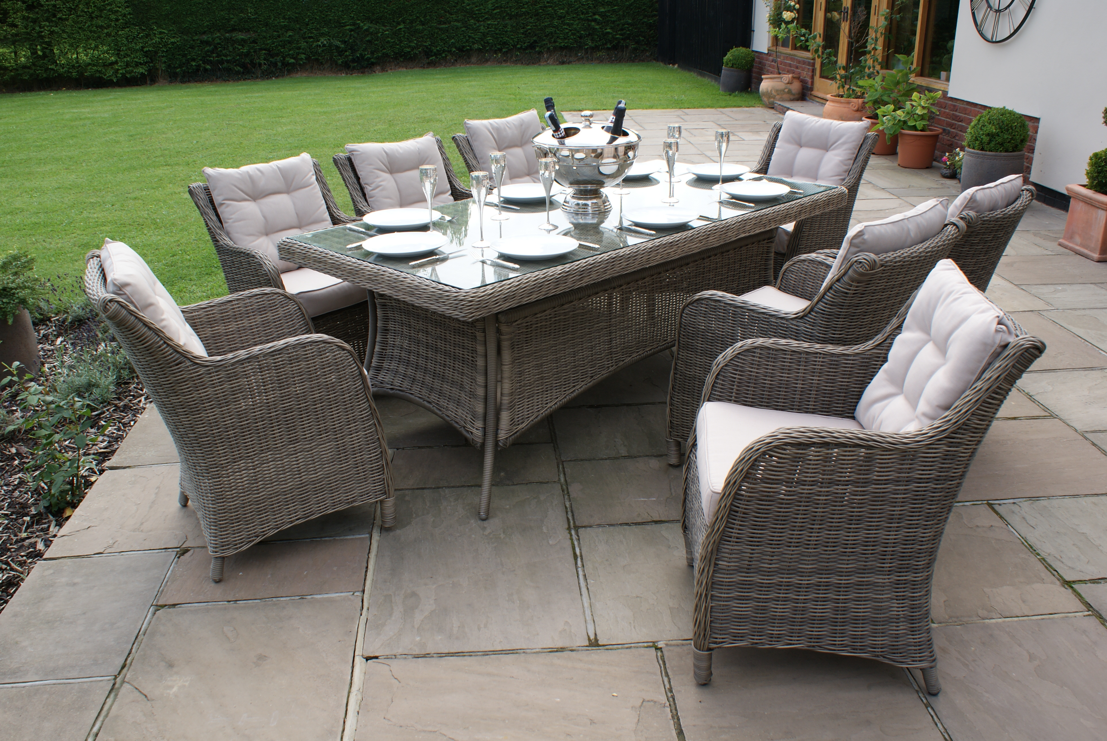 Winchester 8 Seat garden Dining Set with Square Chairs