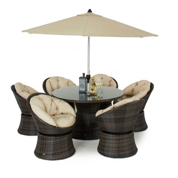 6 Seat Swivel Rattan Dining Set