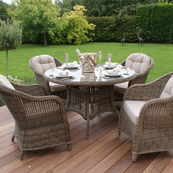 Winchester 4 Seat Round Dining Set with Round Chairs