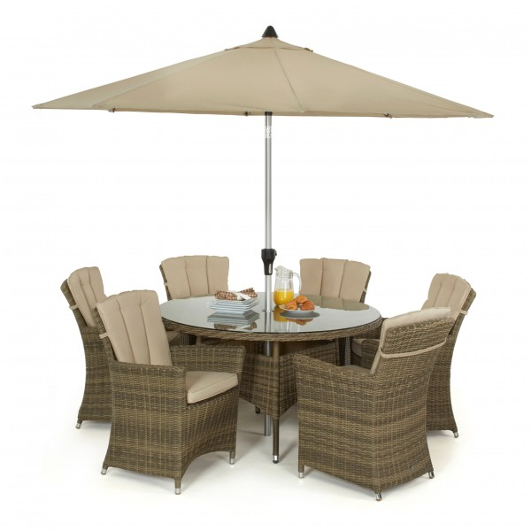 Winchester 6 Seat Round Dining Set with Carver Chairs