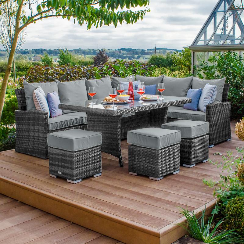 Swell Nova Cambridge Casual Dining Rattan Corner Sofa Set Right Hand Grey Cjindustries Chair Design For Home Cjindustriesco