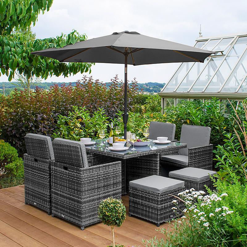 Cube Garden Furniture With Parasol Hole, Grey Rattan Garden Furniture Cube Sets