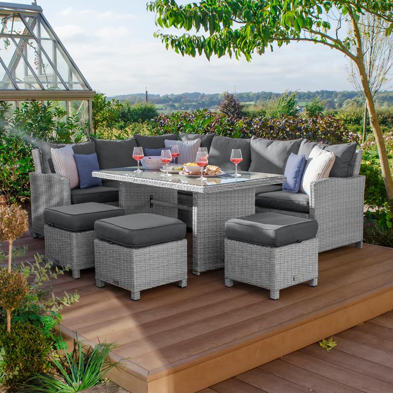 Wondrous Nova Heritage Left Hand Ciara Rattan Corner Dining Sofa Set With Footstools Whitewashed Ncnpc Chair Design For Home Ncnpcorg