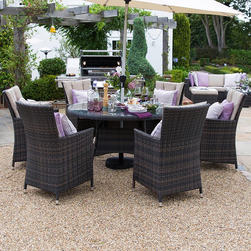 Nova Sienna 6 Seat Rattan Dining Set, Wood Round Table Garden Furniture