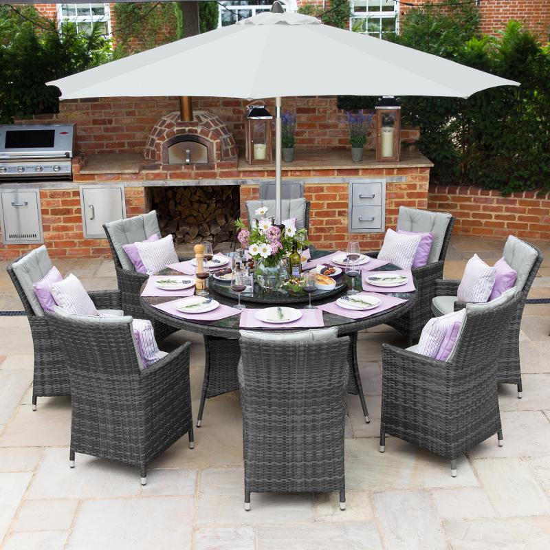 Nova Sienna 8 Seat Rattan Dining Set, Wood Round Table Garden Furniture