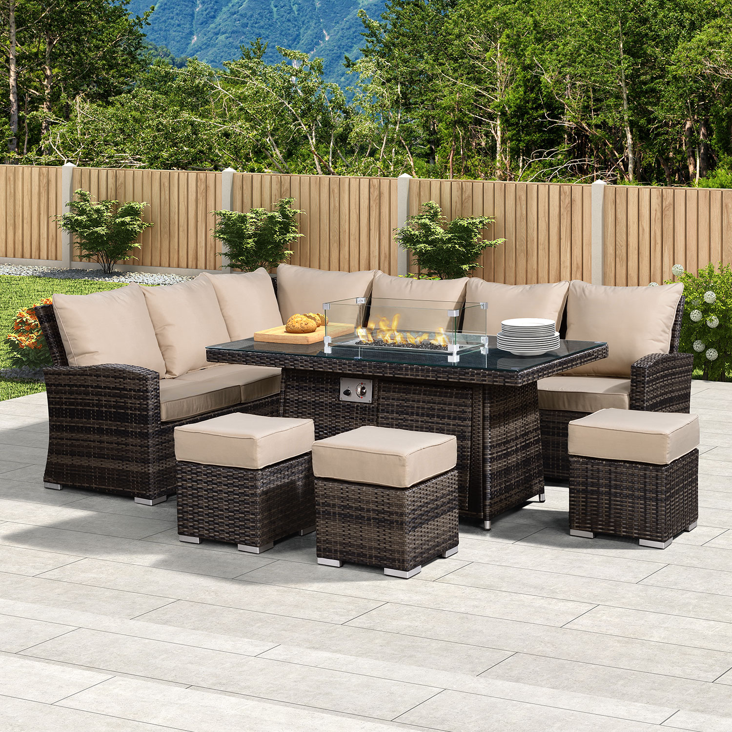Picture of: Nova Cambridge Fireglow Left Hand Rattan Corner Sofa Dining Set With Gas Firepit Table Brown Crownhill