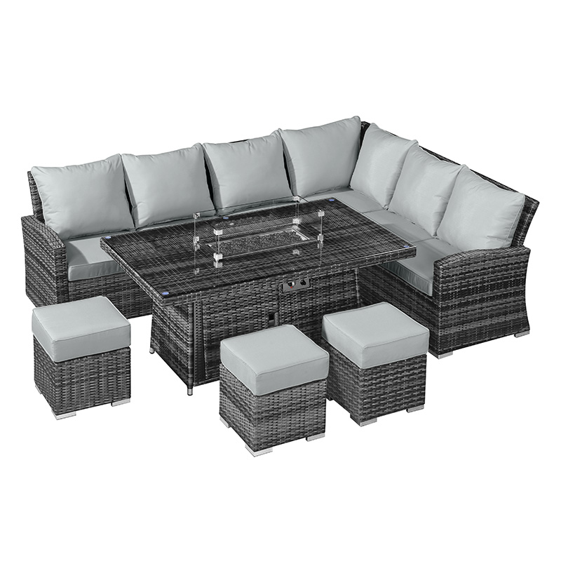 the latest 9b0f0 20fe2 Nova - Cambridge Fireglow Right Hand Rattan Corner Sofa Dining Set with Gas  Firepit Table - Grey