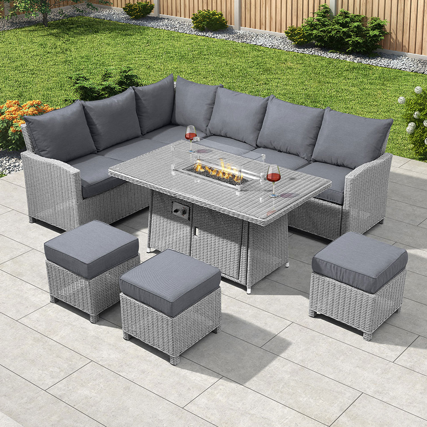 Image of: Nova Heritage Ciara Corner Dining Set With Fire Pit Table Left Hand White Wash Crownhill