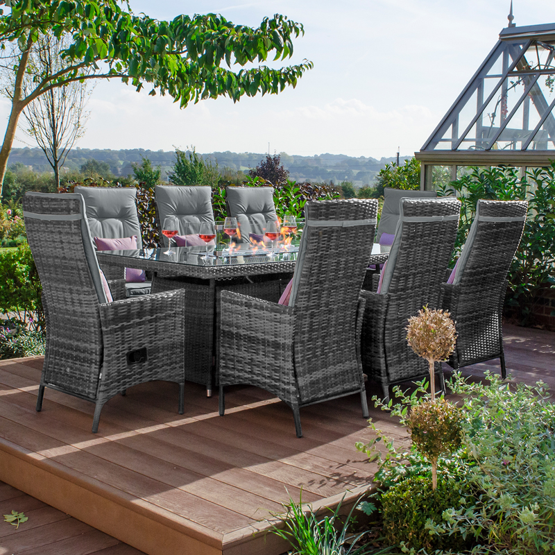2m X 1m Rectangular Gas Firepit Table, Grey Rattan Garden Furniture With Fire Pit Table