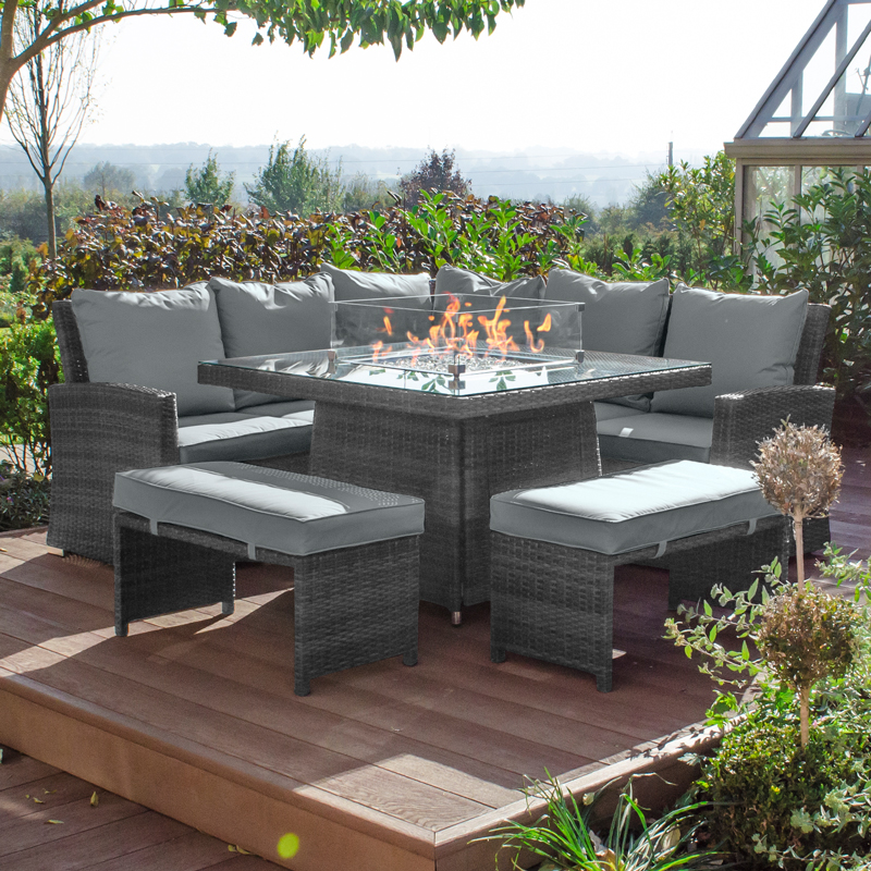 Compact Cambridge Rattan Corner Dining, Rattan Garden Furniture With Gas Fire Pit Table