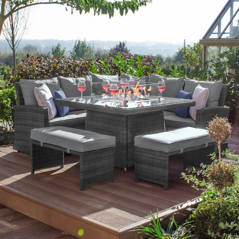Compact Cambridge Rattan Corner Dining, Rattan Garden Furniture Set With Fire Pit Table