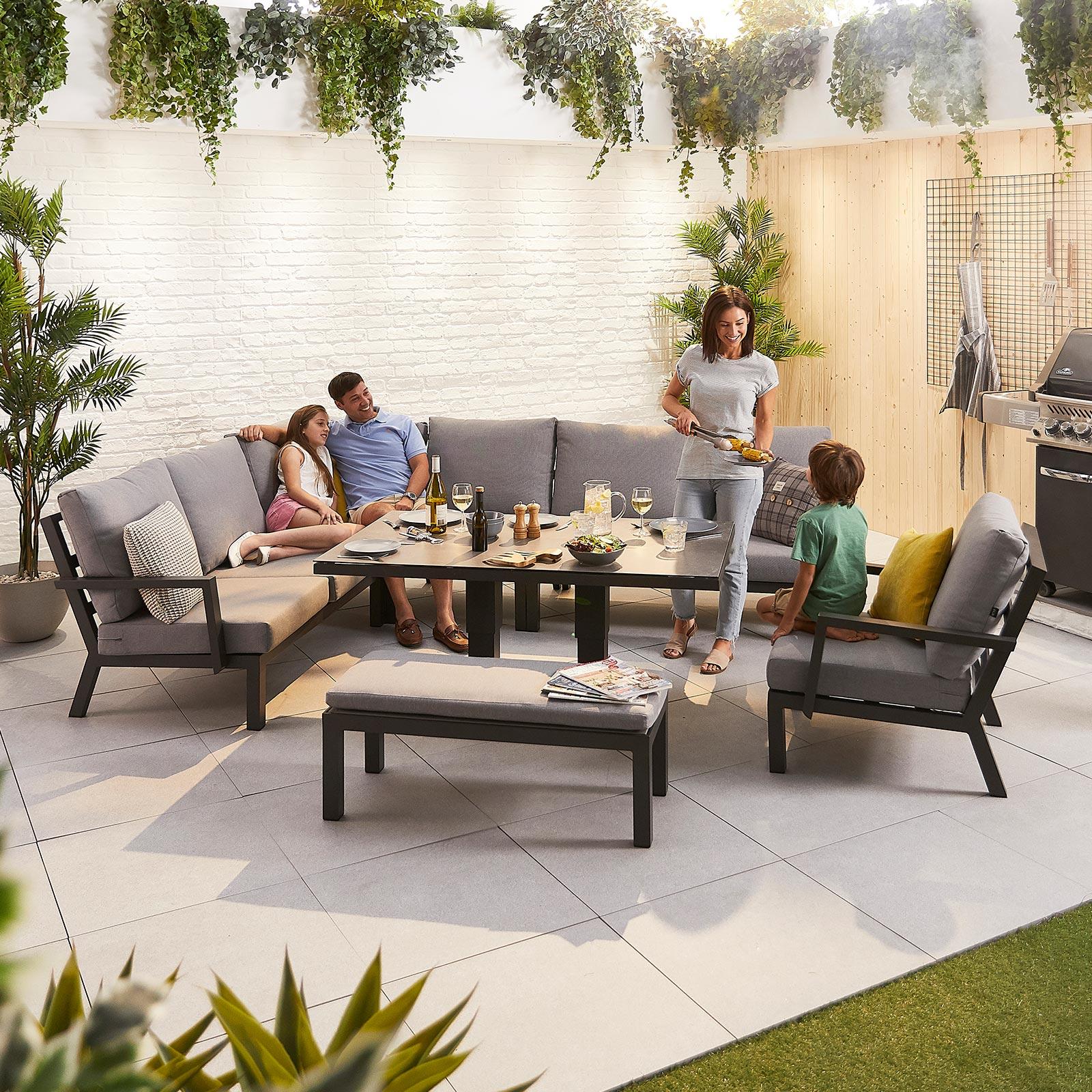 Vogue Aluminium Casual Dining Corner, Sofa Dining Room Table